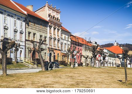 LEVOCA SLOVAKIA - MARCH 19: Old house in historic centre of city on March 19 2017 in Levoca