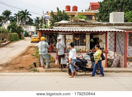 Havana Cuba - January 14 2016: Typical scene in the streets of Havana Small private shop stall selling vegetables and fruit from the owner's own field.