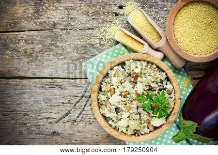 Mediterranean style couscous with eggplant top view