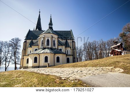 Basilica of the Visitation of the Blessed Virgin Mary on hill Marianska hora. Levoca Slovakia. Place of Pilgrimage