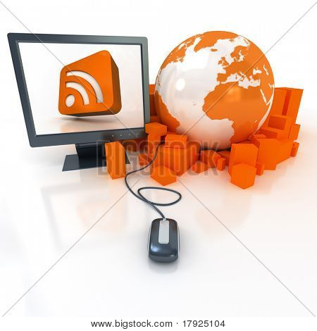 3D rendering a world map surrounded by packages connected to a computer showing in the screen the RSS symbol