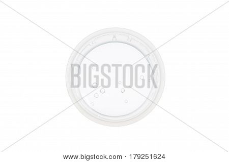 Top view of plastic cup with water on white background concept of nutrition and diet