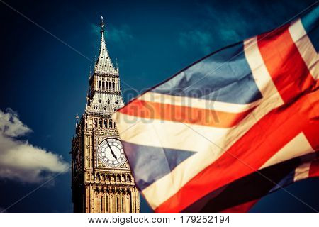 brexit concept- Union Jack flag and iconic Big Ben in the background - UK leavs the EU