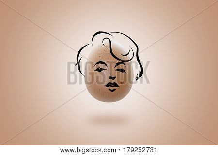 MSIDA MALTA- MARCH 28 2017: Caricature of Marilyn Monroe face. Egg-face concept. Sketch by hand. Illustration on a beige egg.