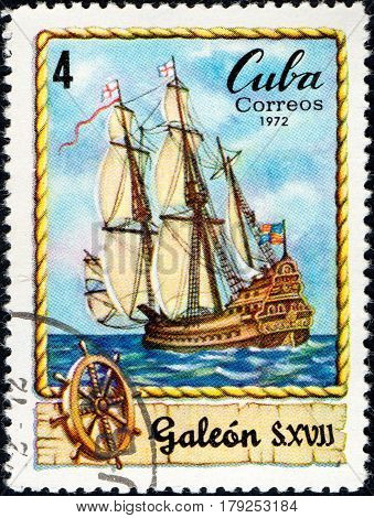 UKRAINE - CIRCA 2017: A postage stamp printed in Cuba shows Sailing vessel Galleon of XVII century circa 1972