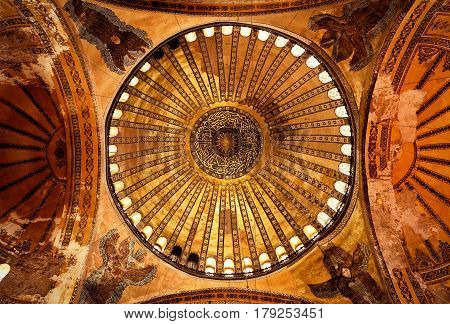 ISTANBUL - MAY 25, 2013: The ceiling of the Hagia Sophia. Church of Hagia Sophia is the greatest monument of Byzantine Culture. It was built in the 6th century.