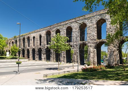 Aqueduct of Valens in Istanbul, Turkey. It was built by the emperor Valens in the late 4th century and is one of the most important landmarks of the city.