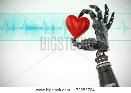 3d image of cyborg with heard shape decoration against medical background with blue ecg line