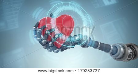 Three dimensional image of robot hand holding red heard decoration against close-up of volume knob interface 3d