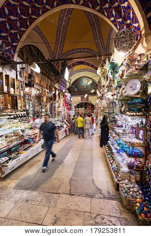ISTANBUL - MAY 27, 2013: The Grand Bazaar in Turkey. The Grand Bazaar is the oldest and the largest covered market in the world with 61 covered streets and over 3000 shops.
