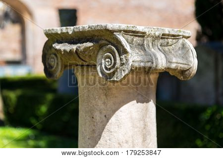 Ancient Roman column in the ruins of the Baths of Diocletian in Rome, Italy