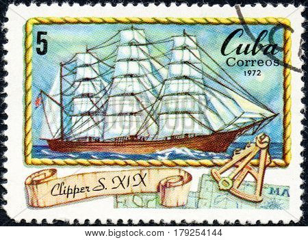UKRAINE - CIRCA 2017: A postage stamp printed in Cuba shows vessel Clipper of XIX century circa 1972