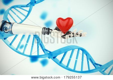 3d image of bionic person holding heart shape decor against medical background with blue dna helix