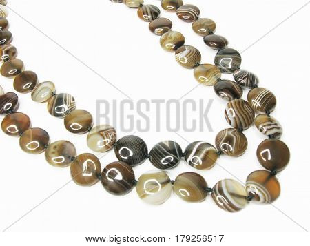 brown agate beads jewellery isolated on white background