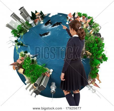 Young schoolgirl pointing to a world map ecology oriented