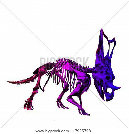 the skeleton of the dinosaur Triceratops color image color gradient; red pink and blue colors sketch vector