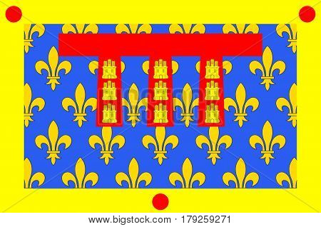 Flag of Pas-de-Calais is a department in Hauts-de-France is a Region of northern France. Vector illustration