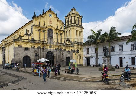 Popayan Colombia - February 4 2014: View of the San Francisco square and of the San Francisco Church in the town of Popayan in Colombia