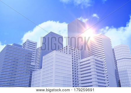 Blurry animated flare against bright blue sky with clouds 3d