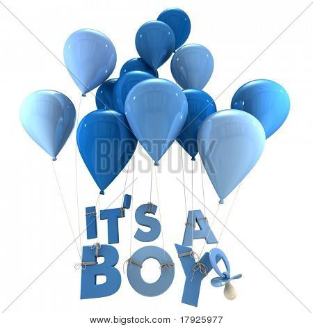 3D rendering of blue balloons with it?s a boy hanging from the strings and a pacifier