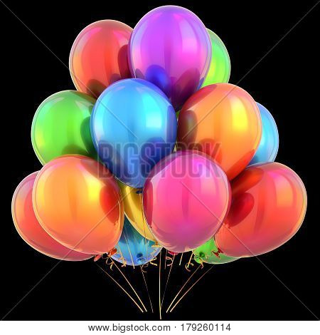 Balloons happy birthday party decoration multicolored glossy colorful. 3D illustration isolated on black