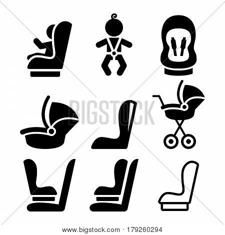 Baby car seat, toddle car seat - safe child traveling icons