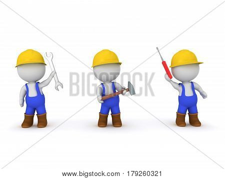 Three 3D characters dressed as workers. Each holding a different tool. One holds a sledgehammer another a screwdriver and the last a wrench.