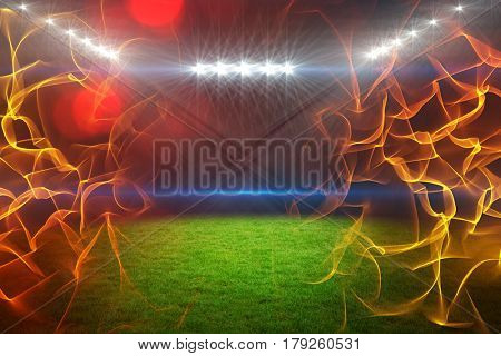 Ball of fire against digitally generated image of illuminated floodlight on playing field 3d