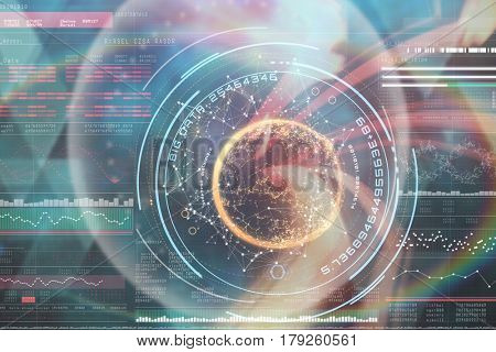 Digital image of globe with big data text against genes diagram on black background 3d