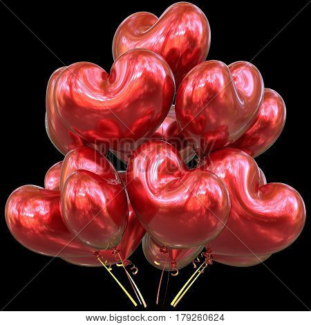 Red party balloons love heart shaped happy birthday event decoration glossy. Valentine's Day 3D illustration isolated on black