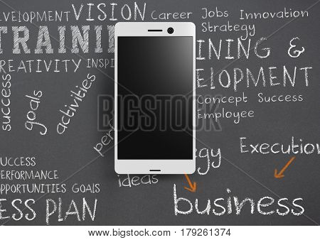Digital composite of Phone against grey background with chalk written business training words