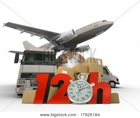 3D rendering of  a world map, packages a van, a truck and an airplane with the words 12 Hrs and a chronometer
