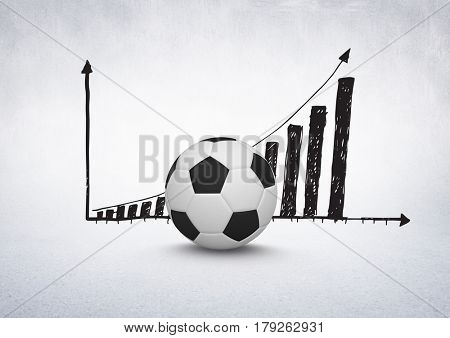 Digital composite of 3D Football with rising incremental chart drawings on white background