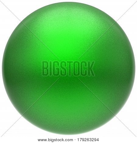 Sphere round green button ball basic matted circle geometric shape solid figure  3D render illustration isolated