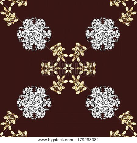 Seamless pattern oriental ornament. Floral tiles. Golden pattern on brown background with golden elements. Vector golden textile print. Islamic design.