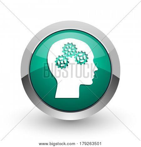 Head silver metallic chrome web design green round internet icon with shadow on white background.