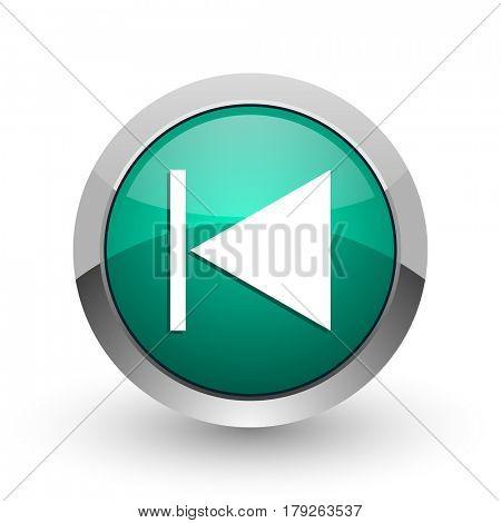 Prev silver metallic chrome web design green round internet icon with shadow on white background.
