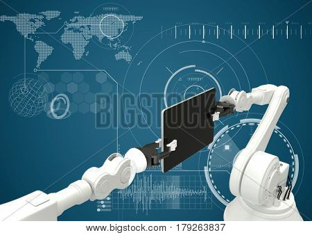 Digital composite of White robot claws and device against white interface and blue background