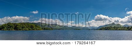 Panorama over the mountains and lake at Keswick in the Lake District, England
