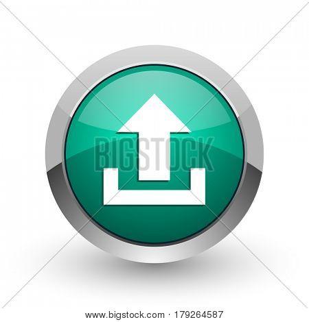 Upload silver metallic chrome web design green round internet icon with shadow on white background.