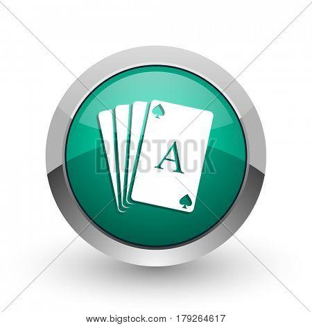 Card silver metallic chrome web design green round internet icon with shadow on white background.