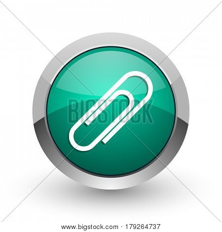 Paperclip silver metallic chrome web design green round internet icon with shadow on white background.