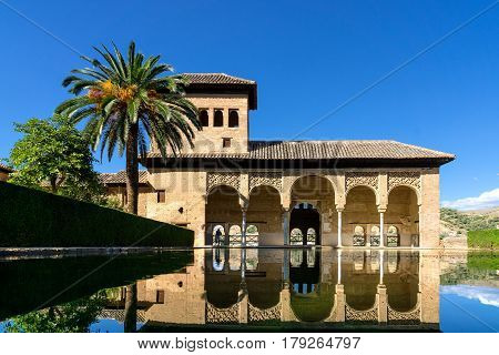 Alhambra in Granada. One of the palaces in the extensive area of the Alhambra with a pond in the foreground