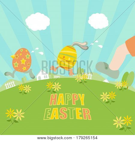 Easter eggs running away from a chasing boy on grass field with flowers trees fences houses and clear blue sky