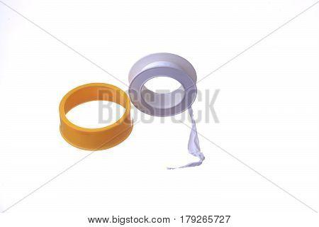 Teflon tape isolated on white background .