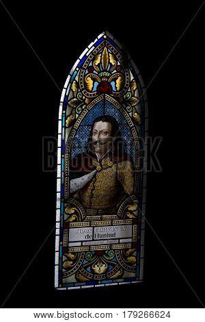Iancu  de Hundeoara , portrait on vitrage window at Corvin's Castle