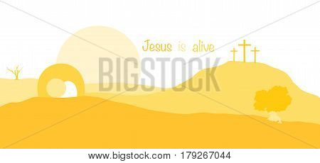 Jesus is alive. Empty tomb and crosses in yellow landscape.