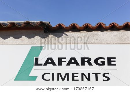 Lozanne, France - February 25, 2017: Lafarge is a French industrial company specialising in three major products: cement, construction aggregates, and concrete