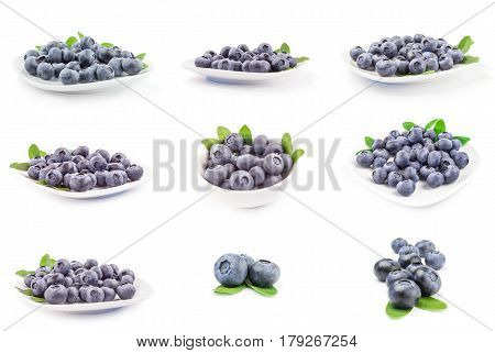 Set of huckleberry isolated on a white background cutout