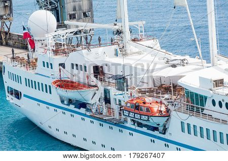 Open Old Style LIfeboat on Small Cruise Ship